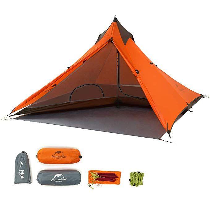 Naturehike Trekking Pole Tent Ultralight 1 Person 3 Season Tent Lightweight Pyramid Tent For Mountaineering Hi Trekking Pole Tent Backpacking Tent Hiking Tent