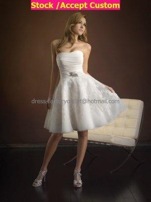 a line white taffeta lace short evening dress bridal dress