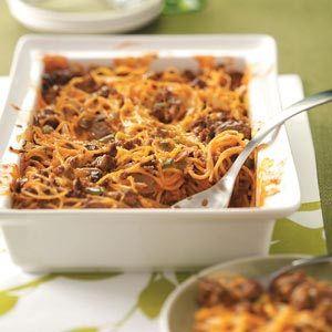 Spaghetti Beef Casserole Make Ahead Freezer Meal Recipe from Taste of Home