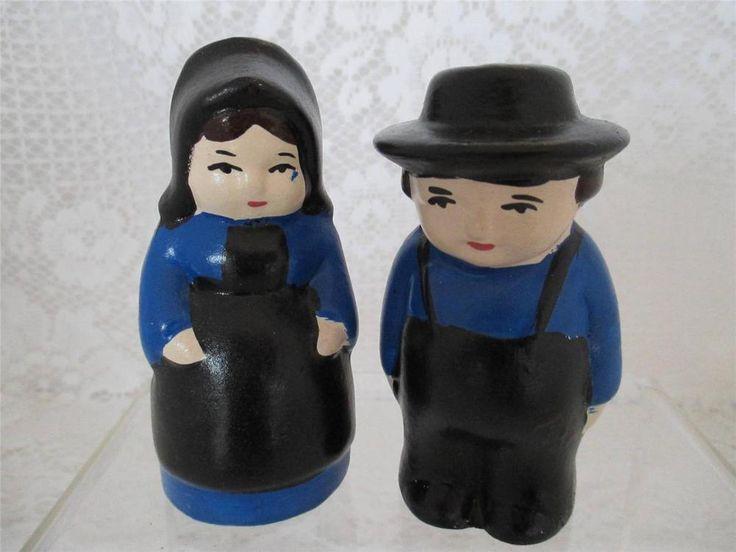 Vintage Amish Man & Woman~ Salt n Pepper Shakers~USA~Hand Painted
