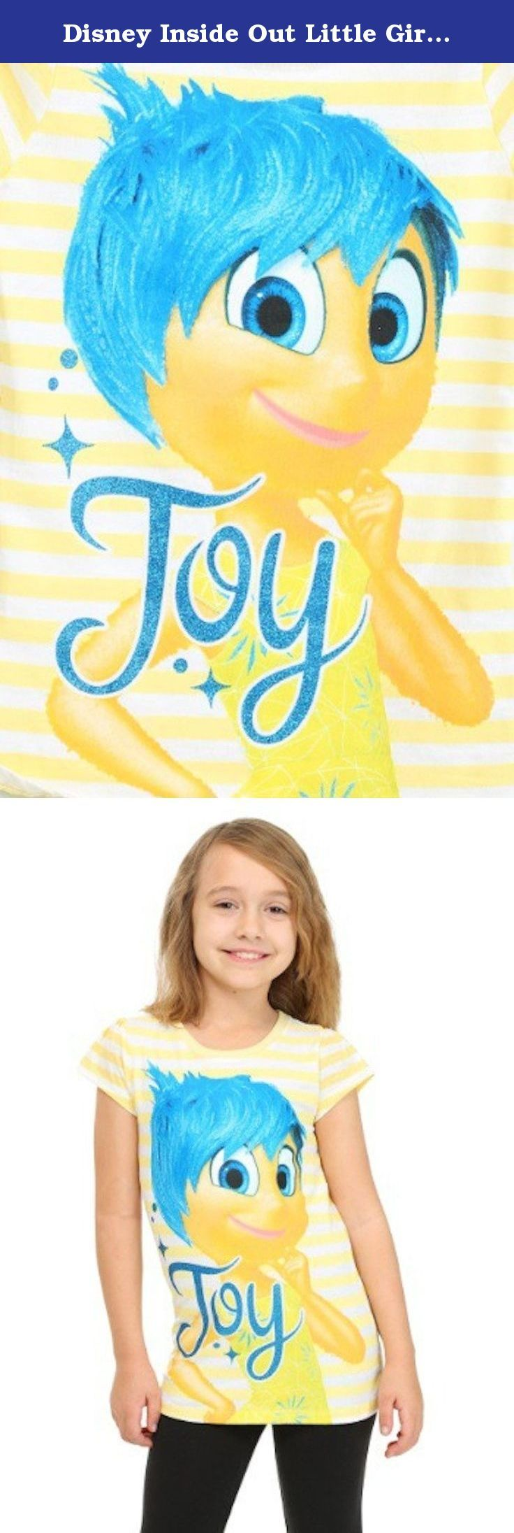 Disney Inside Out Little Girls YELLOW STRIPE Joy Stripe T-Shirt (6, YELLOW STRIPE ). Disney Pixar Short Sleeve 'Inside Out' Tee Girls 6-6x INSIDE OUT YELLOW STRIPE JOY GIRLS T-SHIRT Size: 6 ~6X Days when your kid wears this Inside Out Yellow Stripe Joy Girls T-Shirt are happy days! With a playful yellow color and the Disney Pixar character on the front, it's really hard to feel down while wearing it. Any young fan of the movie will be ready to create some new islands of personality in no...