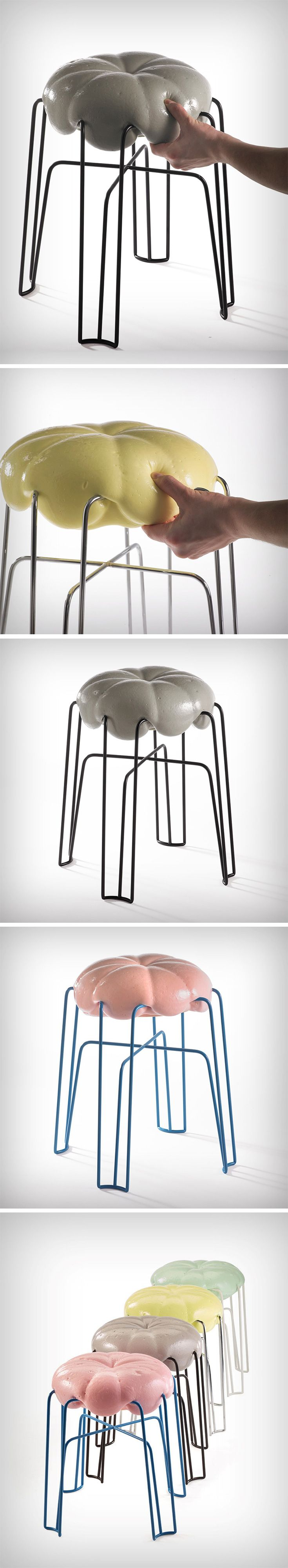 The Marshmallow Stool comprises a single metal pipe base and a foam seat. The eye instantly goes to the way the foam seat looks to be melting over the metal base, giving it the appearance of being incredibly soft. However, the most aesthetic element of the stool (the seat) is probably the most un-designed.