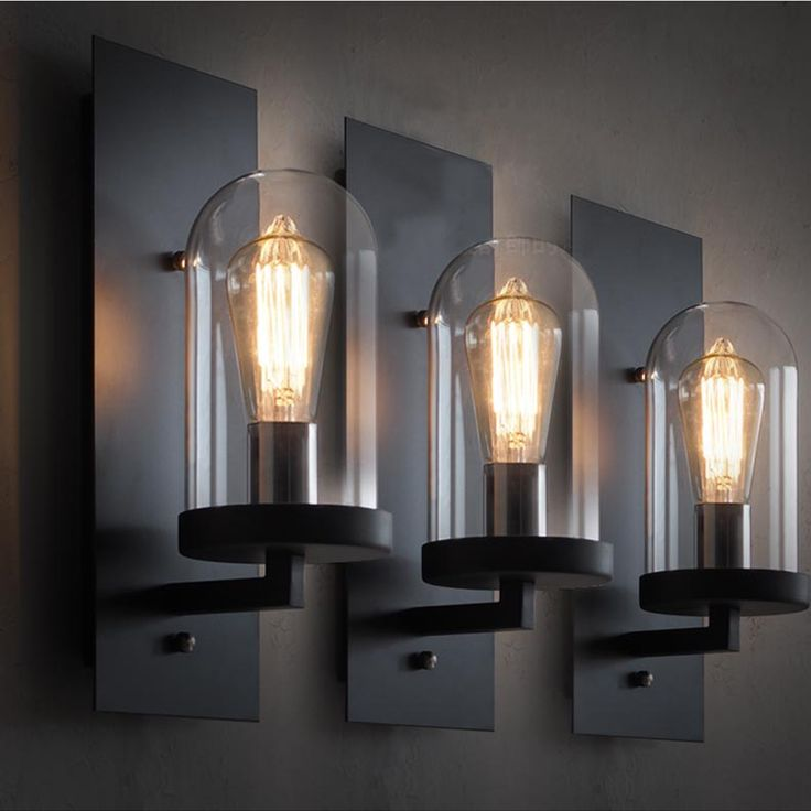 Applique Murale Bois Pas Cher : Industrial Wall Sconce Glass