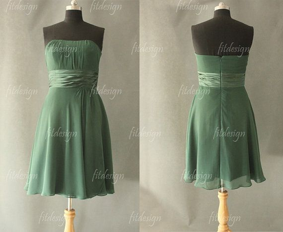 green bridesmaid dress chiffon bridesmaid dress short by fitdesign, $93.00