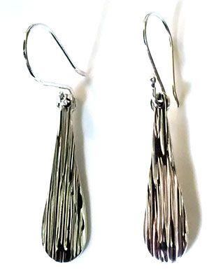 long tear drop silver earrings