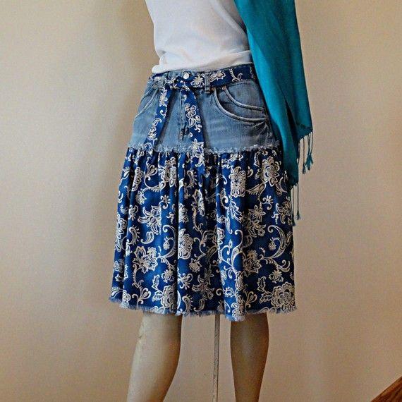 Paisley & Denim Short Jeans Skirt  Knee Length by DenimDiva2day