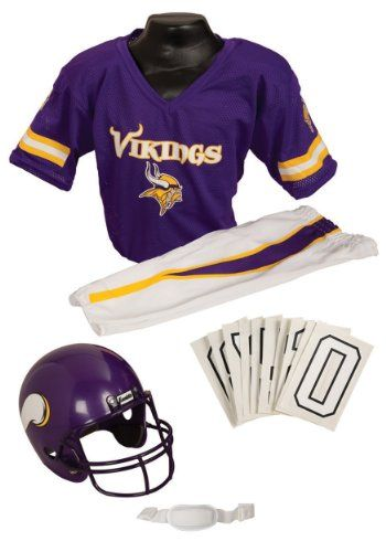 Minnesota Vikings Youth NFL Deluxe Helmet and Uniform Set (Small)  This is the perfect costume set for young football fans who are enthusiastic about attending games.
