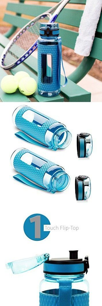 Swig Savvy Sports Water Bottle - with Silicone Sleeve. Fruit Infuser Water Bottle Filter and Leak Free Flip Top, EZ Open with One Click,Tritan Co-Polyester Plastic, 32oz - 25oz - 16oz