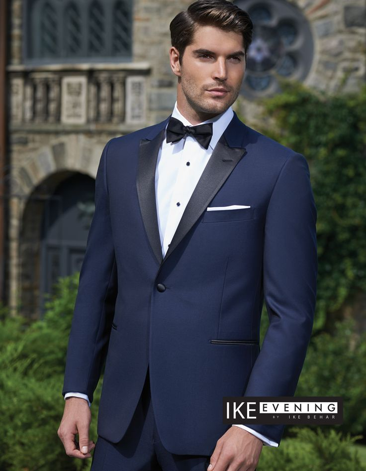 Blake Royal Blue Black lapel Slim - Single Breasted Peak One Button - Ike Behar - Andrews Formals - Toronto's Premiere Tuxedo Store