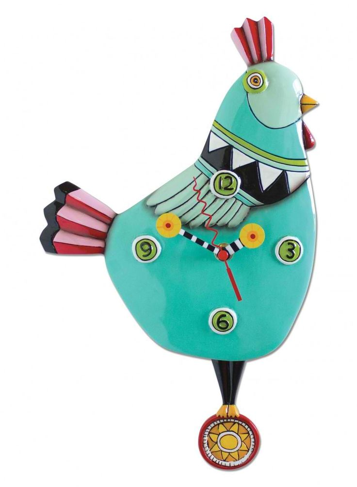 The Funky Chicken Teal Clock features a colorful chicken with sun pendulum. This piece is sure to give any plain room some style.  Interior Place - Funky Chicken Teal Clock Art by Allen Designs, $57.95 (http://www.interiorplace.com/funky-chicken-teal-clock-art-by-allen-designs/)