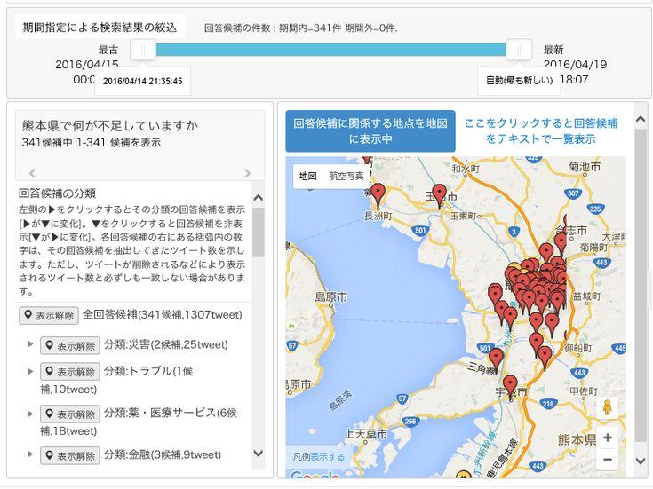 熊本で何が不足しているのか、災害関連のツイートをリアルタイムに分析して回答を表示するシステム「DISAANA」 -INTERNET Watch