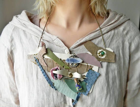 Steampunk couture leather bib necklace with raw kyanite