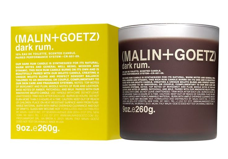 (MALIN+GOETZ): Dark Rum Candle 9oz/260g - An earth-friendly, natural blend of beeswax, vegetable and soy wax candle.  • 16% Eau de Toilette • Paired Performance System • 60 hours of burn time.