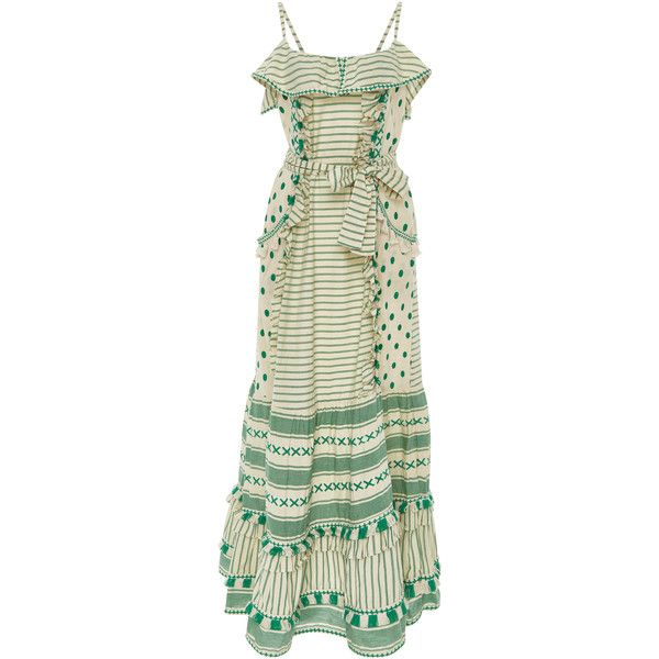 DoDo Bar Or Peeri Fringed Tiered Maxi Dress (7.167.720 IDR) ❤ liked on Polyvore featuring dresses, green, tiered dresses, fringe maxi dress, tiered fringe dress, beige dress and beige maxi dress