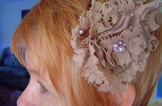 Vintage Moccha Lace hair clip  handsewn by leVintageViolet on Etsy