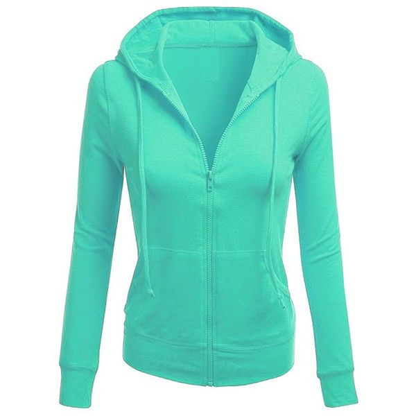 TL Women's Comfy Versatile Warm Knitted Casual Zip-Up Hoodie Jackets... ($21) ❤ liked on Polyvore featuring tops, hoodies, zip up top, zip up hoodie, sweatshirt hoodies, zip up hoodies and green zip up hoodie
