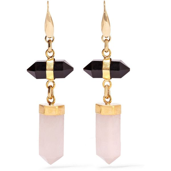 Isabel Marant Santa gold-tone, agate and quartz earrings (€320) ❤ liked on Polyvore featuring jewelry, earrings, gold, isabel marant, gold tone jewelry, gold tone earrings, agate jewelry ve earrings jewelry
