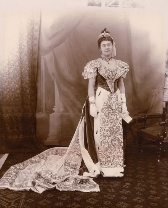 """The Toronto Reference Library (789 Yonge St.) currently features an exhibit on fashions from 1890-1914. This lovely portrait of the Marchioness of Aberdeen and Temair, Ishbel Maria Gordon, was taken in Toronto in 1897 during a ball at the Armouries. A celebrated pioneer of women's rights and healthcare, she also wrote """"Canadian journal of Lady Aberdeen, 1893-1898"""", which is in our collection."""