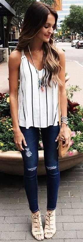 Striped Tank + Jeans                                                                             Source