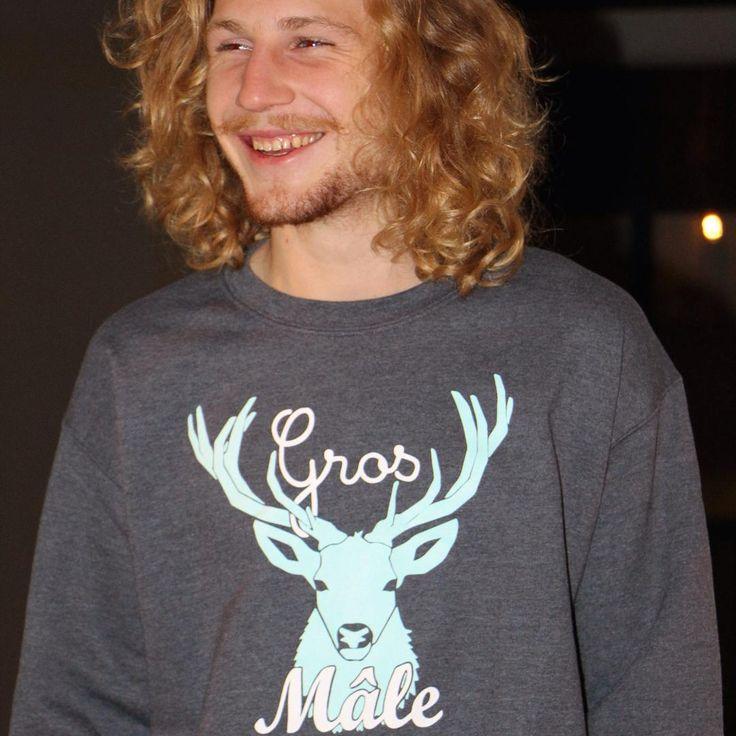 Sweat Gros Mâle - La Grosse Bécasse.  50% coton, Unisexe, Couleur : Gris.  Homme, blond, barbe, hipster, surfeur, surf. Vêtements, vêtement, pull.