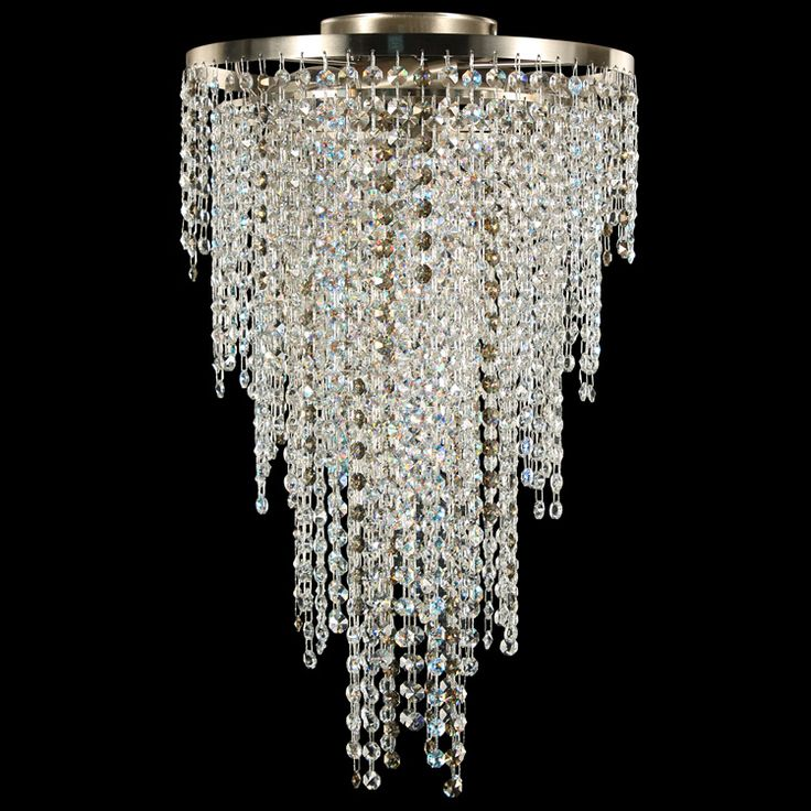 #Crystal dream collection. #Ceiling lamp fitted with crystal cut glass and #Aurora Boreale and Golden Teak #Swarovski. Nickel brushed finish.