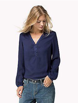 blusa seda manga larga tommy hilfiger.