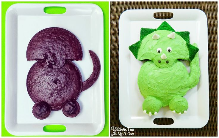 How to make a easy Dinosaur Cake & other Dino party food from KitchenFunWithMy3Sons.com