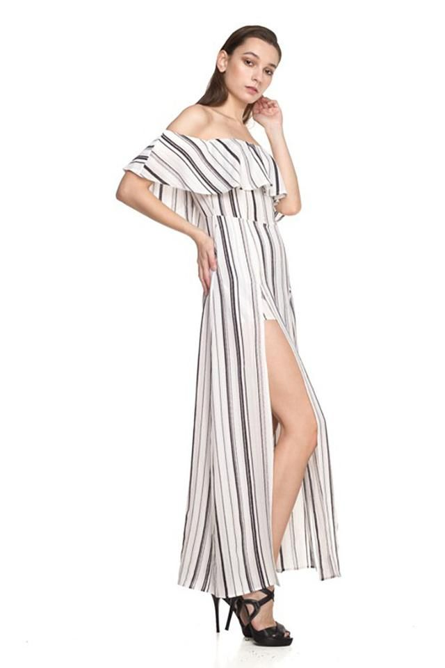 878de3dd8f3 Stripe Off Shoulder Romper Dress