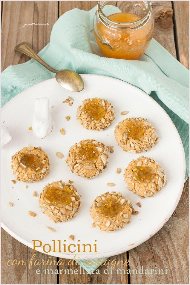 Biscotti con fairna di castagne, sciroppo d'acero e marmellata di mandarini