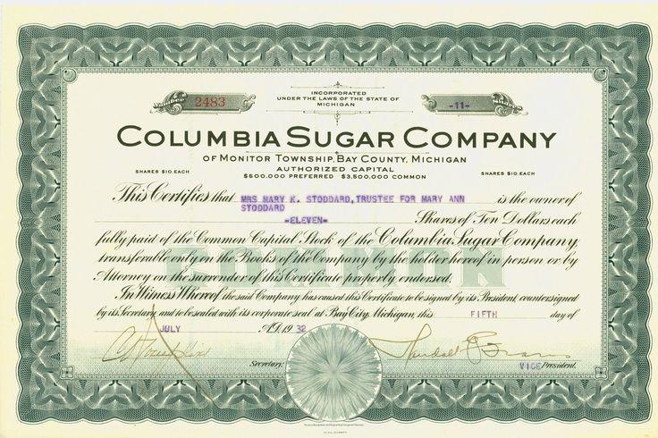 COLUMBIA SUGAR COMPANY of Monitor Township, Bay County, Michigan 1932 Stock Certificate