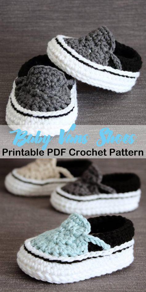 Stellen Sie diese niedlichen Schuhe für einen Jungen oder ein Mädchen her! Baby Vans Babyschuhe Häkelanleitungen – …   – sewing clothes