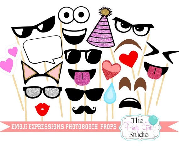 22 pc Emoji Expressions Photobooth/Emoji Inspired Photobooth Props - DIGITAL…