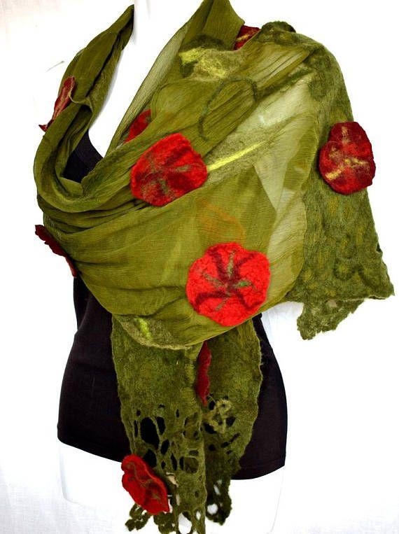 Nuno fieltro bufanda de seda bufanda de fieltro verde musgo