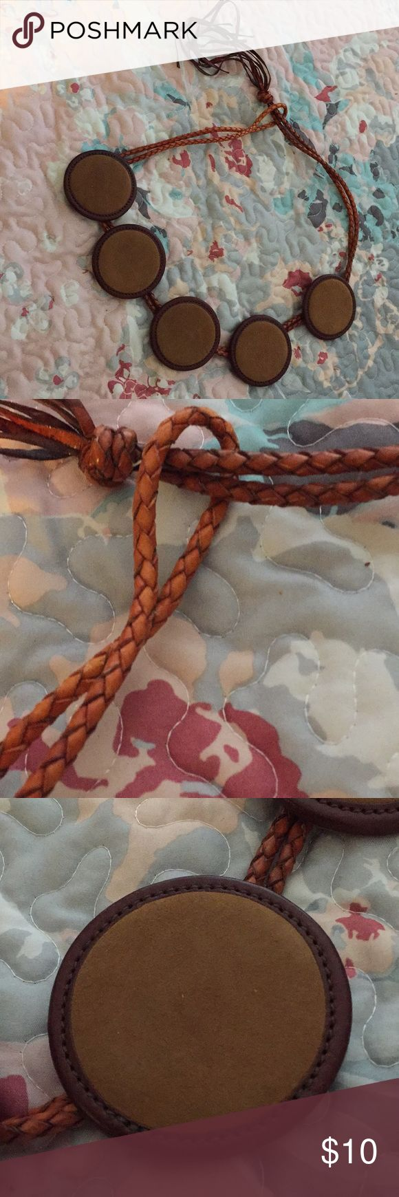 Get the look!  Boho chic leather belt. French High end brand, great quality! Trendy and chic! Used. Natural wear and tear. Faconnable Accessories Belts