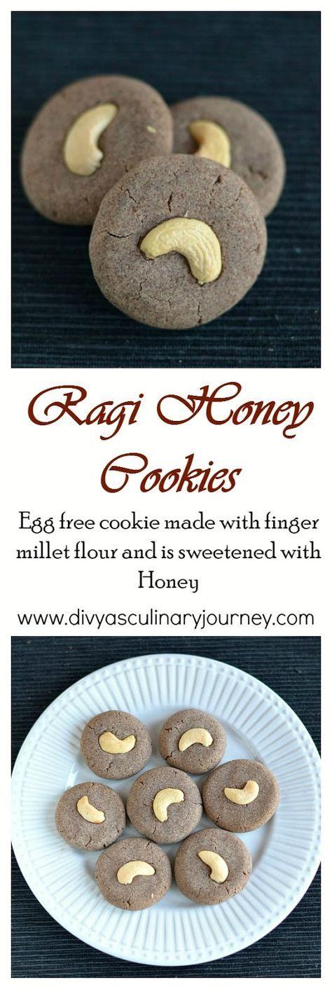 Egg-less Ragi Honey Cookies - Healthy finger millet cookie sweetened with honey