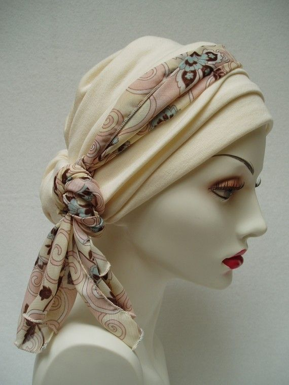 Ivory Chemo Hat Alopecia Cancer  Headwrap Headcover. $47.00, via Etsy.