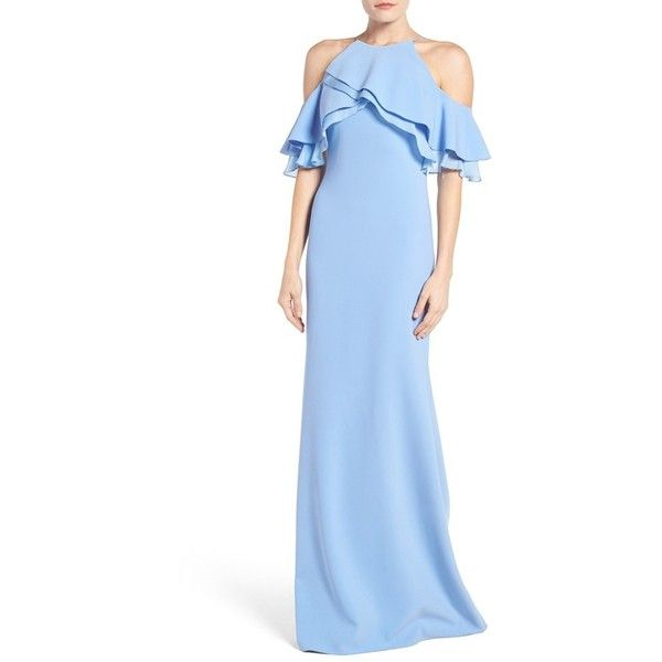 Women's Badgley Mischka Ruffle Shoulder Gown (€715) ❤ liked on Polyvore featuring dresses, gowns, light blue, cut-out shoulder dresses, open shoulder dress, cut out dresses, blue evening dresses and cold shoulder dress