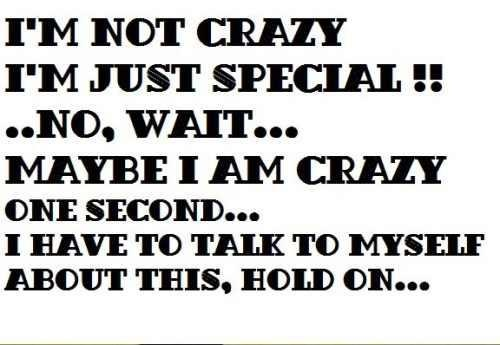 I'm not crazy, I'm just special!...No, wait...Maybe I am crazy ...
