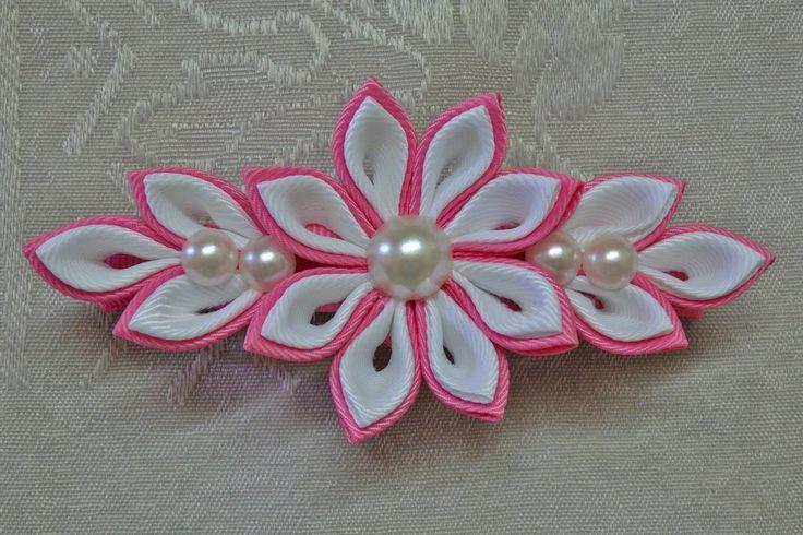 DIY kanzashi flower hairclip, kanzashi flower tutorial, how to, kanzashi...