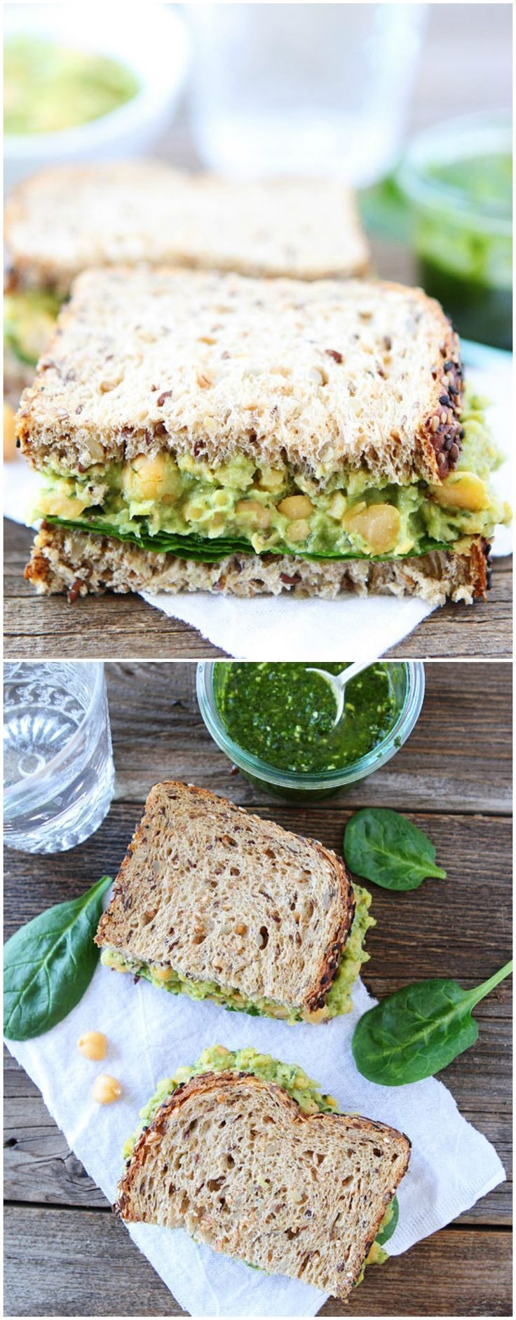 Smashed Chickpea, Avocado, and Pesto Salad Sandwich Recipe on http://twopeasandtheirpod.com  This healthy sandwich is easy to make and great for lunch or dinner!