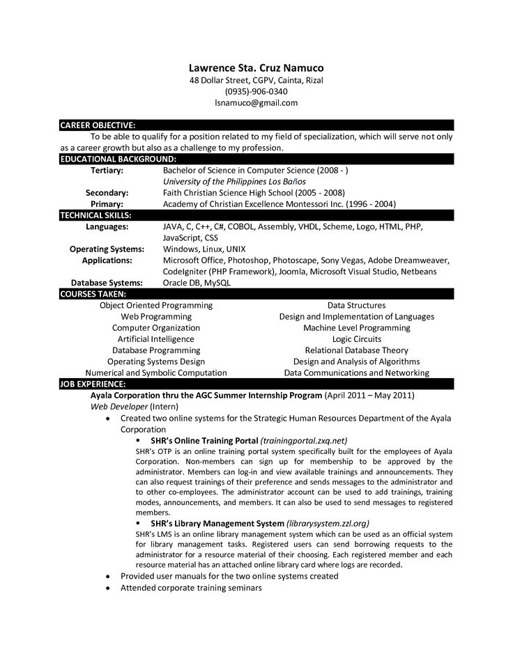 fresh graduate computer science resume example