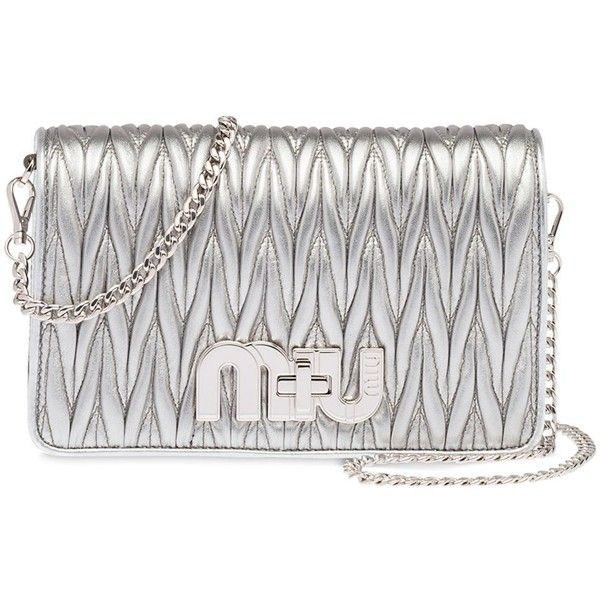 Miu Miu Women Quilted Leather Shoulder Bag (6,360 SAR) ❤ liked on Polyvore featuring bags, handbags, shoulder bags, silver, shoulder handbags, chain strap purse, chain-strap handbags, miu miu shoulder bag and shoulder bag purse