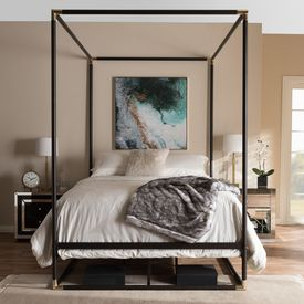 Baxton Studio Eva Vintage Industrial Black Finished Metal Canopy Queen Bed