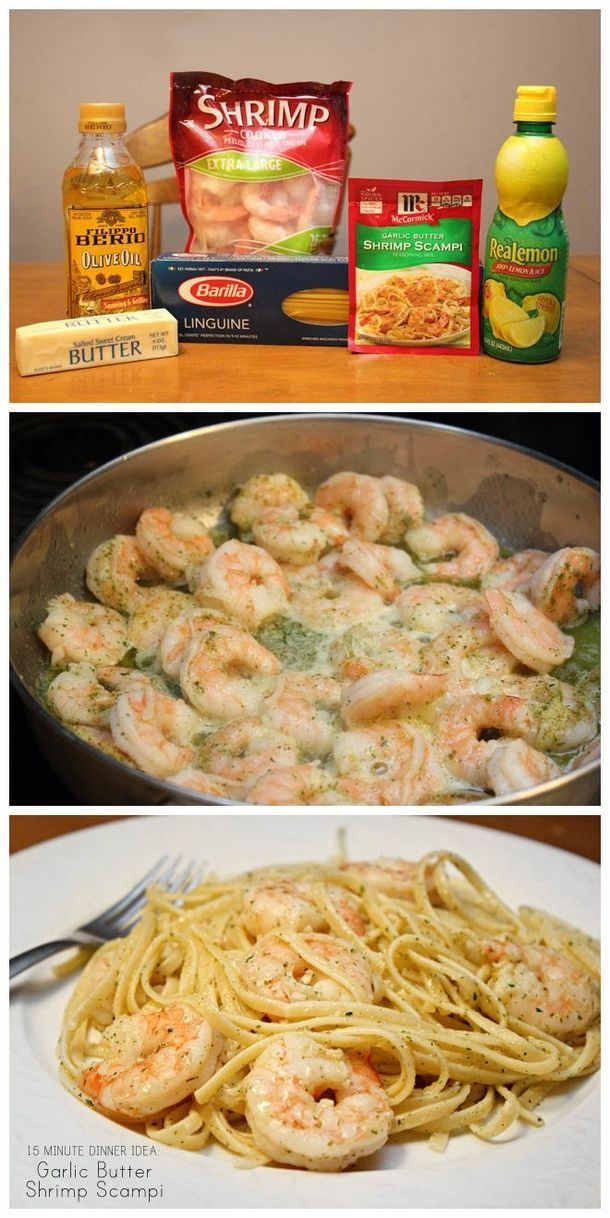 Make Garlic Butter Shrimp Scampi In 15 Minutes! food food ideas recipes healthy food food recipes #pastafoodrecipes