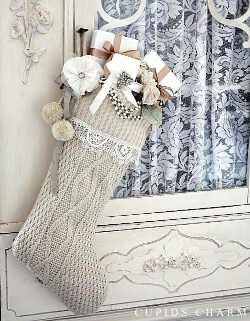 Inexpensive knit Christmas stocking from Target reinvented with lace and charm! from Cupids Charm December 2010