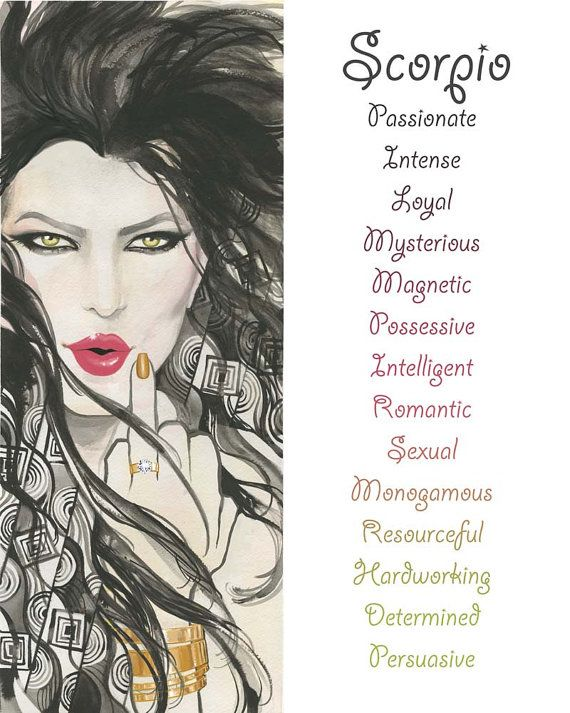 Scorpio, Zodiac SIgn, Watercolor, Print, Illustration, Girl