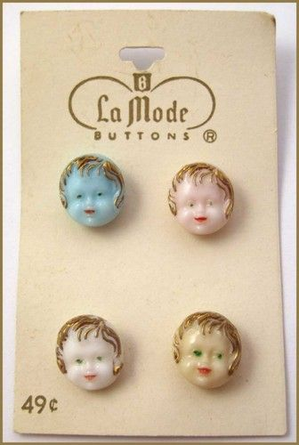 ButtonArtMuseum.com - Vintage Realistic Glass Buttons w/4 Child's Faces, Original Store Card