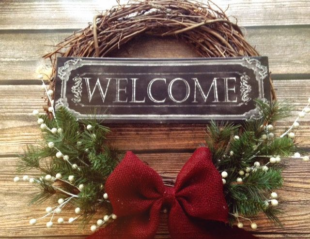 welcome christmas wreath on - photo #6