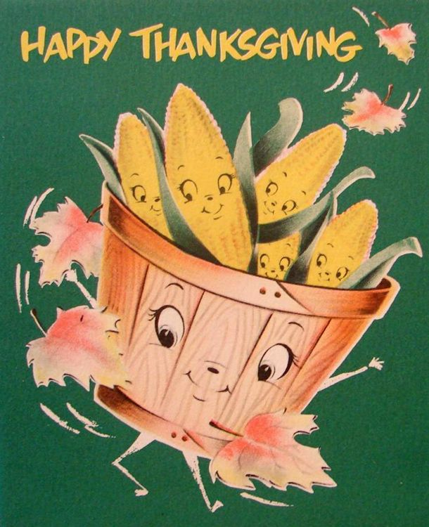 vintage anthropomorphic Thanksgiving greeting card