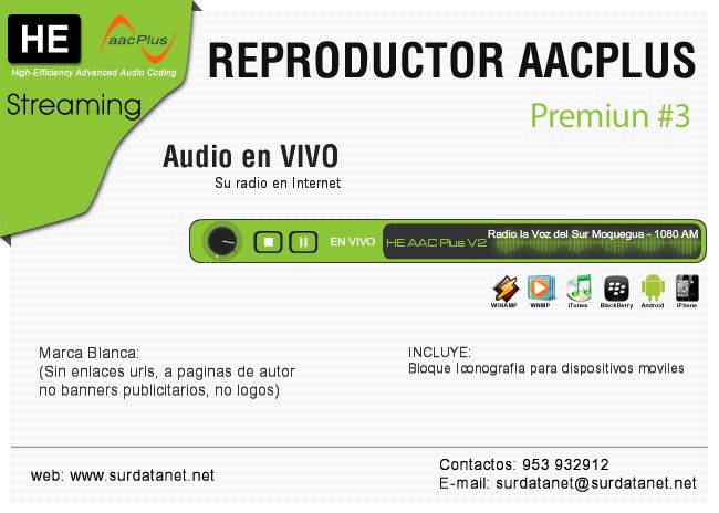 #Moquegua #Streaming Reproductor Premiun #3 HE AAC Plus: GREEN Gratis Solo…